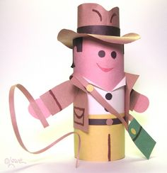 Indiana Jones toilet paper tube action figure DIY.- He could be a cowboy too, minus the bag!