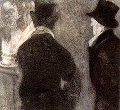 """Xavier Gosé Rovira (1876-1915). """"Modelos"""". Carboncillo, conté, protección sobre cartón. 14,5 x 15,5 cm."""