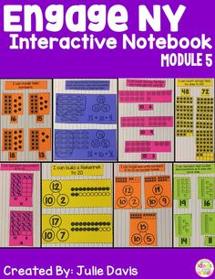 """This is an interactive notebook used to supplement the Engage NY Kindergarten Math Curriculum. There is one interactive activity for each of the 24 lessons in Module 5 plus some extras. Each activity includes an """"I Can"""" statement. These activities can be used in centers, independently, or as a whole group. This module focuses on place value, composing and decomposing teen numbers, exploring Rekenreks, counting to 100, counting by 10s, and counting and representing numbers 11-20."""