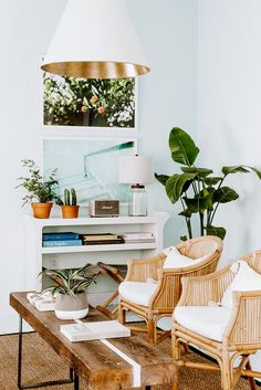 rattan chairs + wooden coffee table