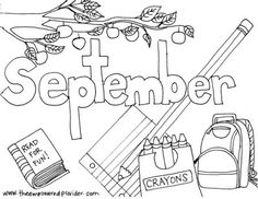 Printable Monthly Coloring Pages - The Empowered Provider Preschool Coloring Pages, Horse Coloring Pages, Coloring Sheets For Kids, Online Coloring Pages, Colouring Pages, September Themes, September Calendar, Calendar Time, Blank Calendar Pages