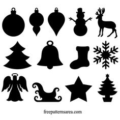 Winter Christmas Silhouette Ornament Clipart Vector