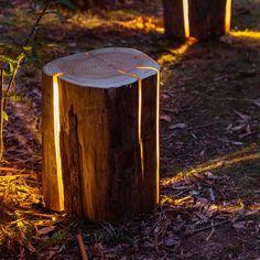 Massive Baumstämme verwandelt Duncan Meerding in ebenso ungewöhnliche wie formschöne Designerlampen.