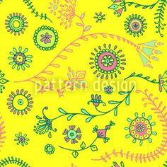 Hochqualitative Vektor-Muster auf patterndesigns.com - Fantasieblumen-Gelb, designed by Christina Wasenegger