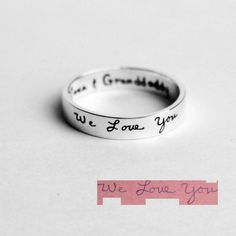 Custom Handwriting Ring Handwriting Jewelry Personalized