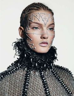 Makeup Artistry | Extrvagently Beaded Victorian Fashion - The Dazed and Confused November 2013 Issue Features Noble Beading