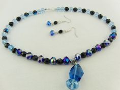 Matching 2 Piece Blue Crystal Jewellery Set, Necklace, Earrings, Blue, Black, Crystals, Accessories, Gift, Birthday, Christmas, Anniversary