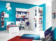 turquoise + rouge + bleu marine