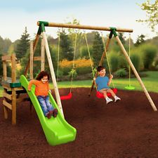 Little Tikes Hamburg Kids Swing and Slide Outdoor Garden Wooden Frame Gym Set