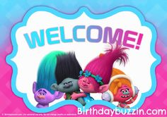 """Planning to decorate a Trolls birthday party? Great! Here's a FREE printable Trolls welcome sign to display as part of your Trolls birthday party decorations.The welcome sign is formatted to fit a full A4 size of paper and features Trolls characters and the word """"Welcome"""". The background is pink and blue to make it easy …"""