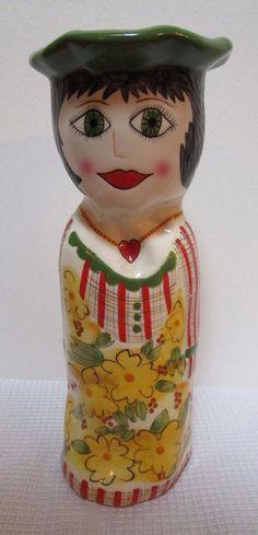 Daisy Vase Bella Casa Ganz Susan Paley Red Yellow Lady Head Figural Plaid Dress