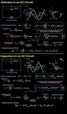 Inductor and capacitor in AC circuit - electrical engineering - Electronic Circuit Projects, Electronic Engineering, Electrical Engineering, Physics Concepts, Physics Formulas, Engineering Science, Engineering Projects, Chemical Engineering, Engineering Quotes