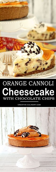 Love Cheesecake? Love Cannoli? Then you must try this Ricotta based Orange Cannoli Cheesecake with Chocolate Chips. It's both beautiful and delicious! via @creativculinary