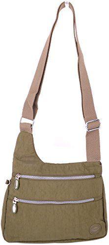 Wye Leather Las Womens Crinkled Nylon Shoulder Cross Body Bag
