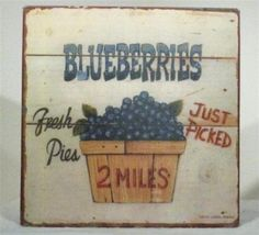 RARE VINTAGE ADS SIGN FRUIT BLUEBERRIES WALL PLAQUE ART - $150.00 : Anticobello, Antiques Vintage Paintings Collectibles Statues Artifacts Sculptures Decorative Art