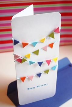 Fun, easy ideas for homemade greeting cards - love the draped banners! #DIY #Solutions