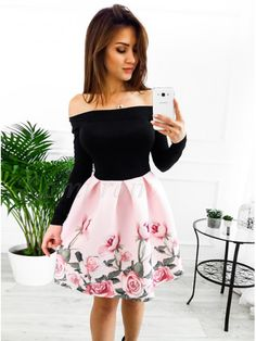 A-Line Off-the-Shoulder Above-Knee Pink Floral Homecoming Dress - Homecoming Dresses Women's Dresses, Pretty Dresses, Beautiful Dresses, Formal Dresses, Floral Homecoming Dresses, Grad Dresses, Dresses For Teens, Skirt Outfits, Dress Skirt