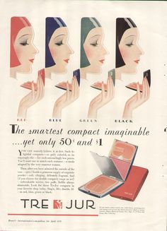 Vintage Make-up Ad Tre-Jur Compacts 1930