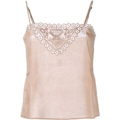 Mes Demoiselles Nell Embroidered Sleeveless Top (€130) ❤ liked on Polyvore featuring tops, camisole, white, white cotton tank top, white crochet tank top, white tank, white cotton camisole and crochet top