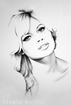 Brigitte Bardot lápiz dibujo arte retrato grabado por IleanaHunter