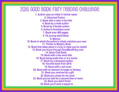 2016 Reading Challenge | Good Book Fairy Book Reviews