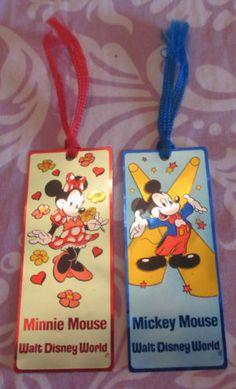 Disney-World-disneyland-souvenier-Micky-Minnie-Mouse-metal-bookmarks-Vintage