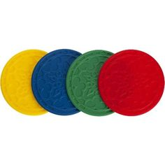 Le Creuset Silicone French Coasters, Multi-Colored, Set of 4 by Le Creuset of America. $12.95. Measures 4 by 4 by 1/2 inches. Made of stain-resistant, non-abrasive Silicone. Can be used instead of oven mitts or as surface protectors. Set of 4 Silicone French coasters protects tabletop surfaces. Heat-resistant to 482 degrees F; dishwasher-safe. These Silicone Coasters protect delicate surfaces from hot beverages and condensation, while their decorative design is inspired by...