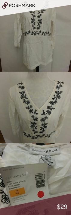 NWT Sag Harbor white tunic with black detail NEW WITH TAGS!  Beautiful white tunic with black floral embroidery detail by Sag Harbor. Hidden side zipper (from bottom hem to hip.) 52% linen/48% rayon. Sag Harbor Tops Tunics