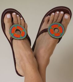 Aspiga Masai Disc Leather Beaded Sandals. At RIB & RHEIN boutique