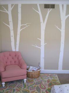 Pencil stencil + painter's tape = birch trees wall art