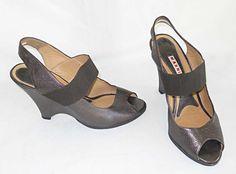 Marni Wedge Sandals Peep Toe Retro Maryjane Brown Metallic Slingback Shoes 39 #marni #PlatformsWedges #WeartoWork