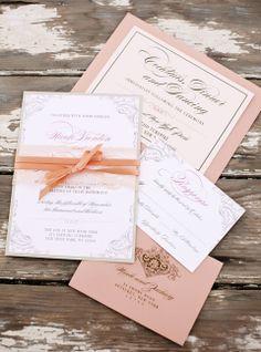 Peach Wedding Invitations, Peach Wedding