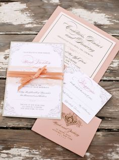 Peach Wedding Invitations, Peach Wedding