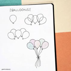 60 How to Doodle Tutorials for Your Bullet Journal - The Thrifty Kiwi Bullet Journal Art, Bullet Journal Ideas Pages, Bullet Journal Inspiration, Bujo Doodles, Love Doodles, How To Draw Balloons, Small Doodle, Birthday Painting, Cool Paper Crafts