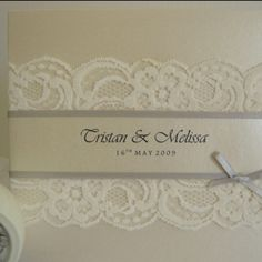 wedding invite- grey ribbon, ivory lace...add a purple accent maybe? Very pretty