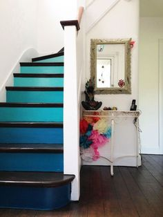 Ombre Interior Design Trend - Classic Home Improvements Painted Staircases, Painted Stairs, Staircase Pictures, Staircase Ideas, Railing Ideas, House Stairs, Garden Stairs, Interior Stairs, Staircase Design