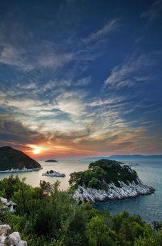 Beautiful sunset on island Mljet in Croatia