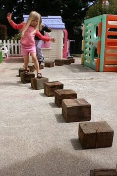 FROM jekinthebox Giant reclaimed wooden blocks.make your own block great gross motor skill Kids Outdoor Play, Outdoor Play Spaces, Outdoor Learning, Outdoor Games, Kids Learning, Indoor Play, Preschool Playground, Backyard Playground, Playground Ideas