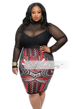 Plus Size Skirt in Red, White, and Black Print – Chic And Curvy