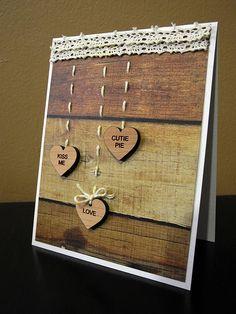 Wooden Valentine Card