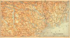 1898 Map Norway Sydl Telemarken  115 Years Old Original Antique