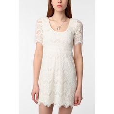 Cream/White Lace Dress This gorgeous lace dress is fitted to the body and is stunning!  The sleeves are sheer (only lace).  The whole body is so intricate and beautiful!  Worn only a few times! Urban Outfitters Dresses Mini