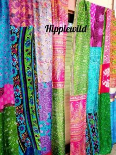Boho Curtains by Hippiewild Patchwork Curtains, Bohemian Curtains, Hippie Bohemian, Bohemian Decor, Canopy Bed Curtains, Burlap Garland, Hanging Photos, Christmas Pillow, Hanging Wall Art