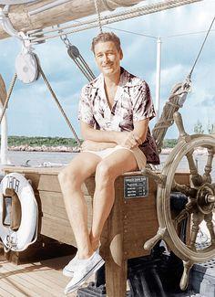 Errol Flynn on his schooner,Zaca