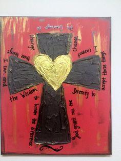 Serenity Prayer Cross Heart Textured Canvas. $38.00, via Etsy.