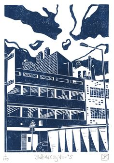 This is a hand-pressed linocut print entitled 'Sheffield City View printed in dark blue. Eighth in my series of Sheffield views (actually my third 'City View'). This is a view of some buildings looking from Arundel Gate up Charles Street / Norfol. Linocut Prints, Poster Prints, Posters, Art Prints, Sheffield Art, Linoprint, A Level Art, Urban Landscape, Making Ideas