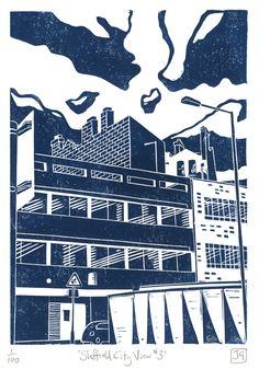 Sheffield City View No.3 linocut print