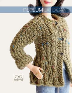 Knitting pattern for 11 1/2 doll Barbie Peplum by DBDollPatterns, $8.00