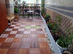 Ceramic design motif specifically for terrace house. The terrace is the face of the house, the terrace is also a part of the house is the liaison between t Terrace Garden Design, Rooftop Garden, Diy Flooring, Wooden Flooring, Diy Pergola, Decking Fence, Balcony Tiles, Terrace Floor, Balkon Design