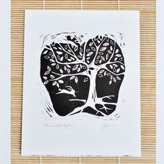 Apple linocut print  signed hand pulled block print  by DearMonday
